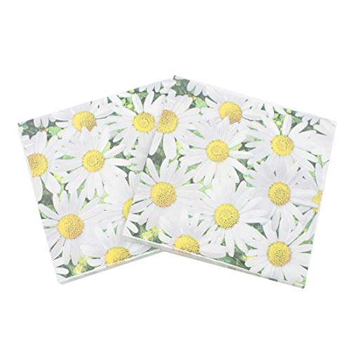 (LASLU 100 Pack Decorative Dinner Napkins - Disposable Paper Party Napkins with Gold Foil Pineapple, Perfect for Anniversary Decorations, Birthday Party Supplies (Daisy, 6 x 6 Inches Folded))