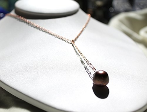 Tahitian pearl necklace with rose gold filled cable chain choker and a long chocolate pearl drop pendant - Chocolate Tahitian Pearl Necklace