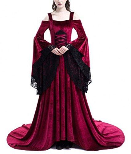 Pevor Womens Renaissance Medieval Irish Dress Retro Victorian Gown Halloween Cosplay Costume Red XXL ()