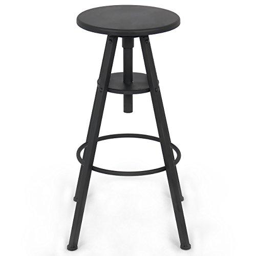Belleze Industrial Bar Stool Adjustable Seat Height Swivel Kitchen Home Barstool, Black