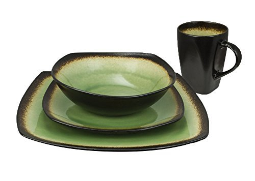 Haus by Kalorik CRT 43703 L Haus 16-Piece Brown and Lime Dinnerware Set - Curved edges green -
