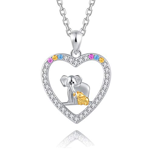 BEILIN 925 Sterling Silver Cute Heart Necklace: Lucky Family Elephant Pendant Necklaces for Mother Daughter Jewelry Monthers Day Birthday (Elephant C#)