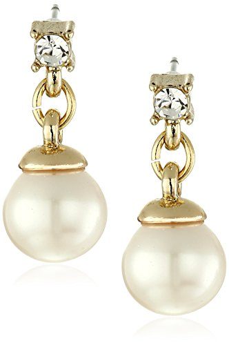 Anne Klein Gold Tone Pearl and Crystal Linear Drop Earrings