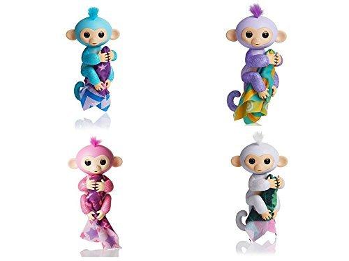 Four (4) WowWee Glitter Fingerling Monkeys - Rose, Amelia, Kiki, Sugar