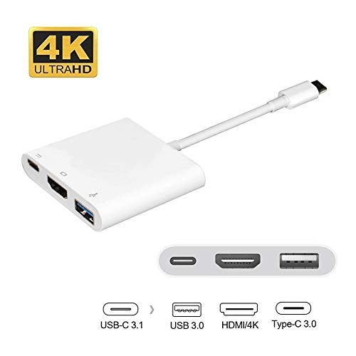 USB-C to HDMI Adapter, 3 in 1 Type-C to HDMI Multiport Adapter Converter with USB 3.0 Port and USB C Charging Port Compatible with Galaxy Note8/S8+/S9/Chromebook Pixel/Dell XPS13/Yoga 900 /HDTV