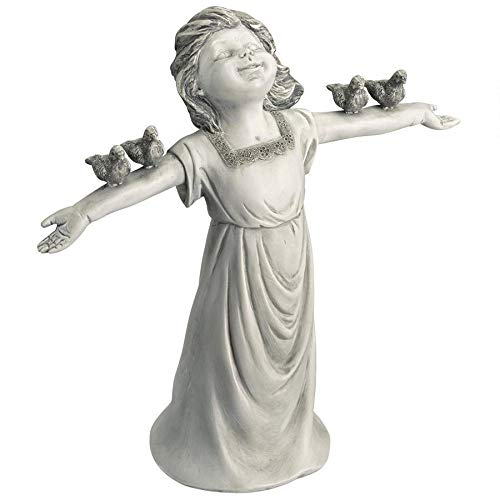 Design Toscano JQ6965 Basking in God s Glory Little Girl Statue, Two Tone Stone