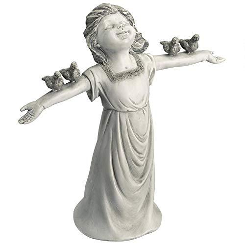 Design Toscano JQ6965 Basking in God's Glory Little Girl Statue, Two Tone Stone