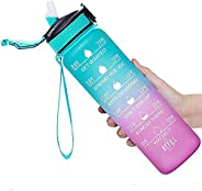 Water Bottle, 32oz Motivational Sports Water Bottle with Time Marker - Times to Drink - Non-Toxic Tritan Plast