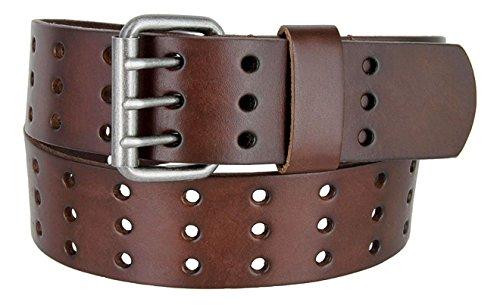 [해외]Pele 벨트 맨 즈 1.75 \\ / Pele Belt Men 1.75\u201d Wide Genuine Leather 3 Hole Rows Metal Roller Buckle