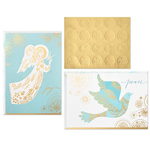 Hallmark Christmas Boxed Card Assortment, Dove and Angel (40 Cards with Envelopes and Gold Seals) ()