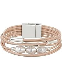 Leather Wrap Bracelet - Pearl Rope Braided Bangle -...