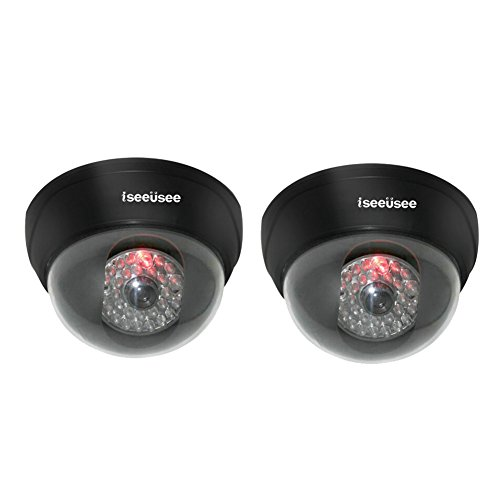 ISEEUSEE Simulated Dummy Fake Surveillance Security Dome Camera with 24PCS Flashing LED Light-2 Pack