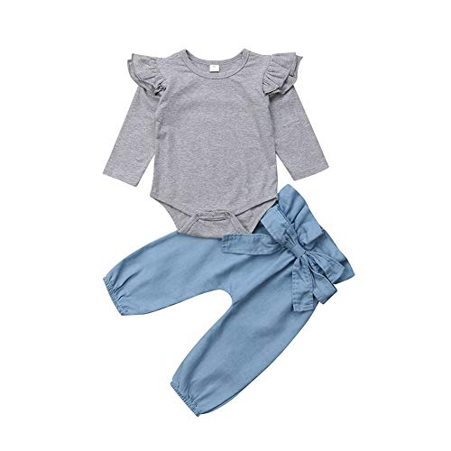 TSEXIEFOOFU Baby Girls Flying Long Sleeve Romper Tops Denim Jeans High Waist Pants Bow Tie Waistband 2 PCS Outfits (0-6 Months, Grey & Blue)