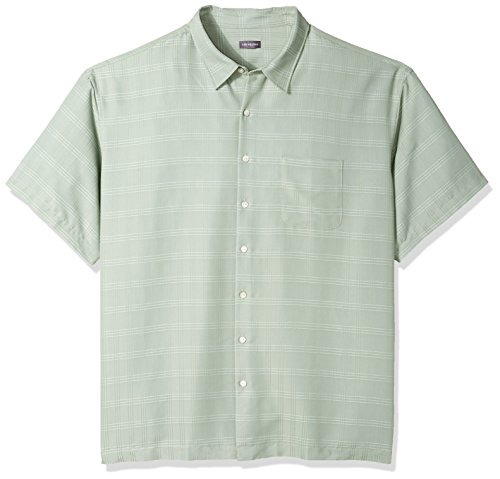 Van Heusen Men's Size Big and Tall Air Short Sleeve Button Down Poly Rayon Stripe Shirt, Green Birds Egg, 4X-Large