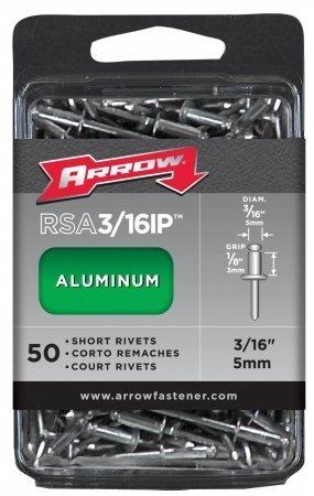 Arrow Fastener Co. RSA.19IP 50 Count .19 in. Short Aluminum - Ip Rivets