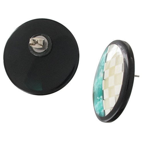 Mother of Pearl Resin Button Pierced Earrings Green Marbled Checkered Round Earrings For Women Set