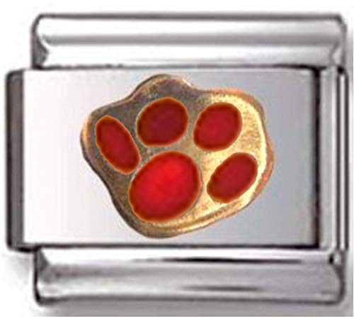 Stylysh Charms PET PAW Dog CAT Red Enamel Italian 9mm Link AN109 ()