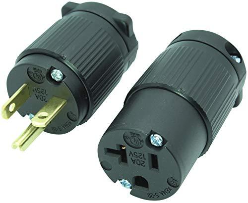 Journeyman-Pro 520PC Plug & Connector Set 20 Amp 120-125 Volt, NEMA 5-20P + 5-20C, 2Pole 3Wire, Straight Blade, Male & Female Replacement Cord End, Commercial Grade PVC ()