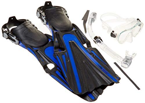 Mares Volo Power Fin Mask Snorkel Scuba Diving Gear Set, Blue, Regular, (9-11)