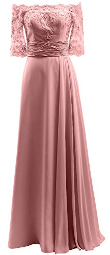 Of Women Long Shoulder Blush Macloth Evening Gown Bride Off Mother Lace Dress Pink Formal tXddqx