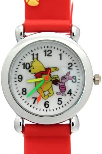 TimerMall Winnie The Pooh Pattern Water Resistant Red Band Children's Sport Watches