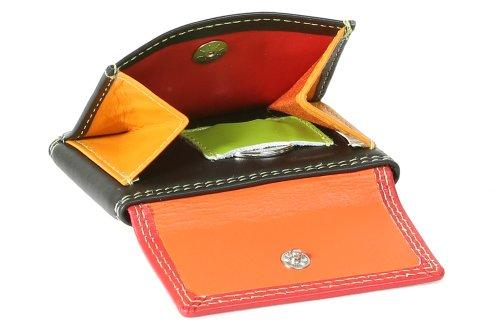 """Portafoglio piccolo con scomparto per banconote semiaperta colorato LEAS, Vera Pelle, multicolore - """"LEAS Multicolore-Serie"""""""