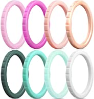 ThunderFit Thin and Stackable Silicone Rings, 8 Rings / 4 Rings / 1 Ring - Silicone Wedding Bands for Women -