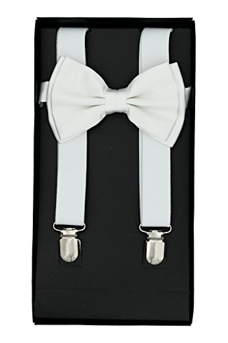 Buha Suspenders for Men, 2 in 1 Suspenders and Bow Tie, Mens Outfits Casual Suspender and Bow Tie Special Edition (White) ()