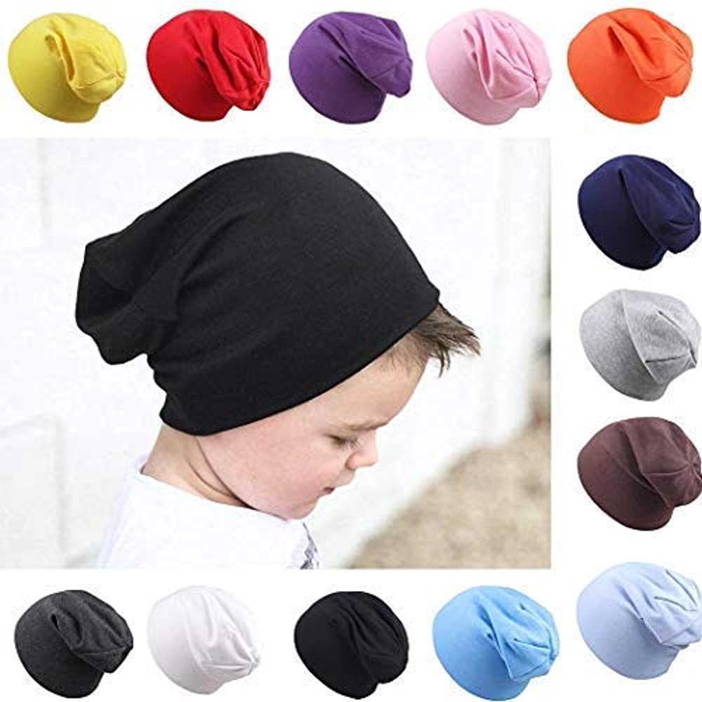 Lome123 Infant Baby Newborn Casual Winter Warm Solid Stretchable Beanie Caps