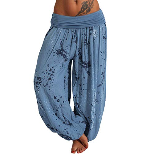 Harem Pants for Women,SMALLE◕‿◕ Women's Drop Bottom Elastic Waist Loose Fit Baggy Gypsy Hippie Boho Yoga Harem Pants