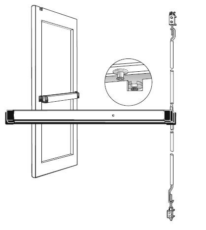 Concealed Rod Device - Narrow Stile Concealed Vertical Rod Device 8600 Aluminum