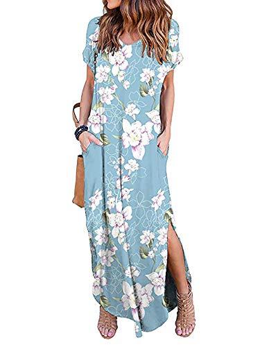 (Women's Summer Maxi Dress Casual Loose Pockets Long Dress Short Sleeve Split Peony 2XL)