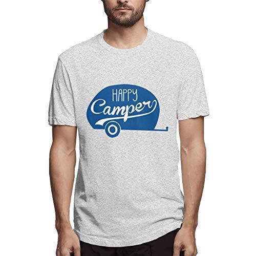 Nutmix Men's Happy Camper Cotton Tees Gray