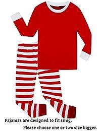 Striped Boys Girls 2 Piece Christmas Pajamas Set 100%...