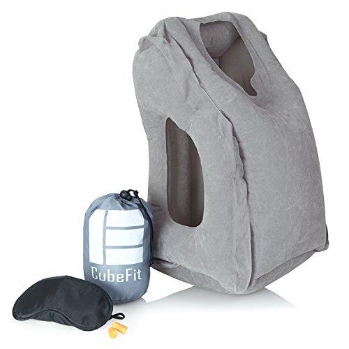 Almohada Inflable de viaje–ergonómico & almohada cervical terapéutica con máscara de dormir, Tapones Para Los...