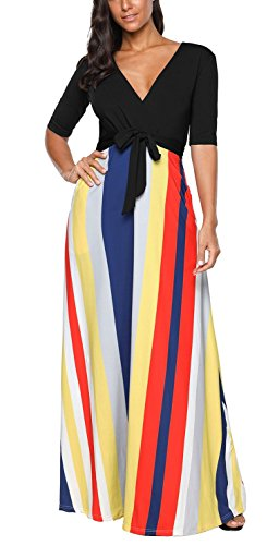 Half Sleeve Floor - Ponce Fashion Women Half Sleeve Color Stripes V Neck Cocktail Party Floor Length Long Dress(Black,XXL)