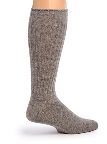 Warrior Alpaca Socks - Men's Ribbed Everyday Alpaca Wool Crew Socks (Flannel Gray L)