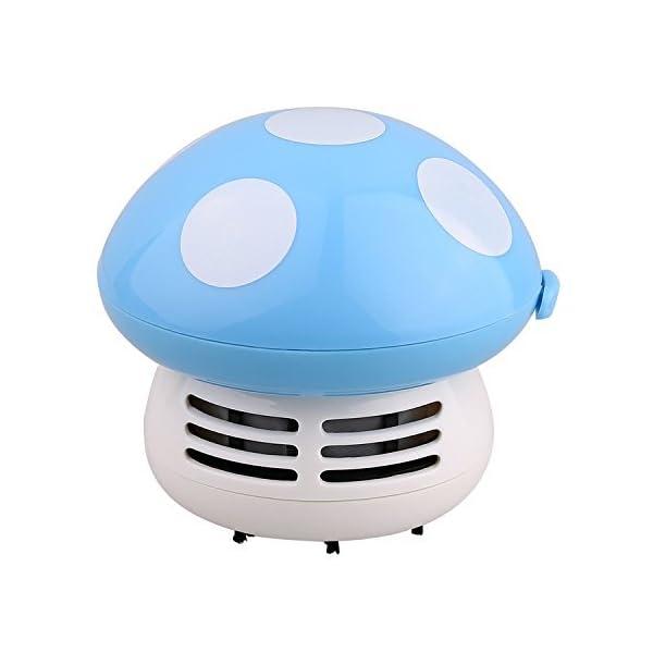 ANKKO Mushroom Mini Cleaner Desk Dust Keyboard Handheld Vacuum Cleaner Sweeper - Blue