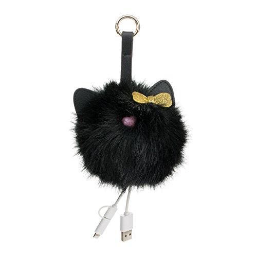 Kitten W Bow Tech Charging Pom Bag Charm Portable Power Bank  Black