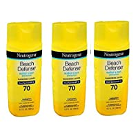 Neutrogena Beach Defense 3 Pack Bundle Water Resistant Sunscreen Body Lotion with Broad Spectrum SPF 70, Oil-Free and Fast-Absorbing, 6.7 oz