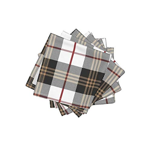 - Roostery Scottish Tartan Linen Cotton Cloth Cocktail Napkins Modern Plaid Plaid Winter Home Decor Dress Apparel Tartan Holiday by Mkokolo Set of 4: 10 x 10in