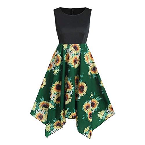 ♛TIANMI Women's Summer Boho Sunflower Printing Sleeveless Dress Beach Maxi Dress,Women for Skirt(Green,XL)