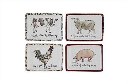 Farm Animals & Sayings Rectangular Stoneware Plates - Set of 4