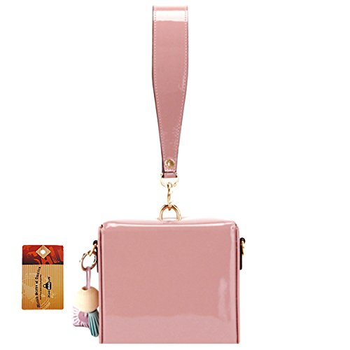 - ZLMBAGUS Womens Small Square Handbags Clutch Patent Leather Tassels Tote Purse Evening Party Shoulder Crossbody Bag Pink