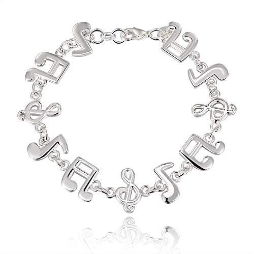 (Gbell Fashion Women's Link Bracelets- Silver Cute Music Note Solid Charm Chain Bracelet Jewelry Gifts for Women Girls Ladies)
