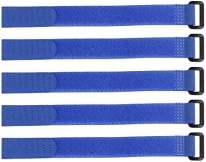 uxcell フックとループのストラップ20mm x500mmストラップ固定 再利用可能な固定ケーブルタイ (ブルー)5個