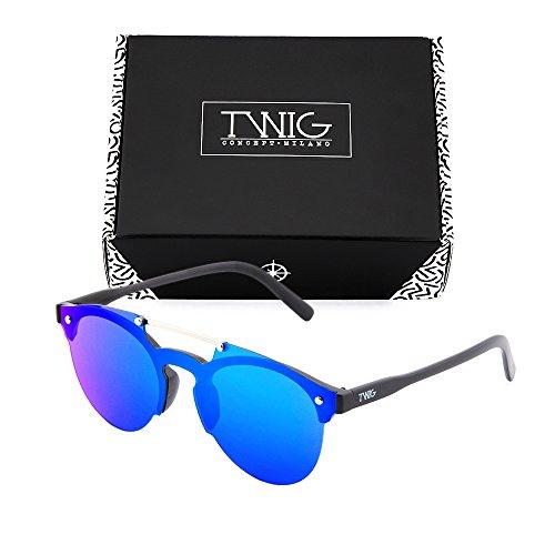 mujer TWIG sol Azul Gafas HOKUSAI de hombre degradadas espejo Negro wH1fq0af6