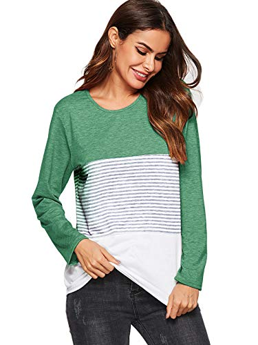 Amoretu girocollo righe verde color shirt donna blusa a in T block BqZOCwEE