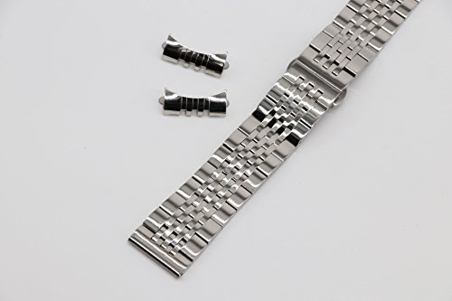 19mm Curved Connection Silver Business Watch Belt Solid 304 Stainless Steel Watch Strap Deployant Clasp by autulet (Image #1)