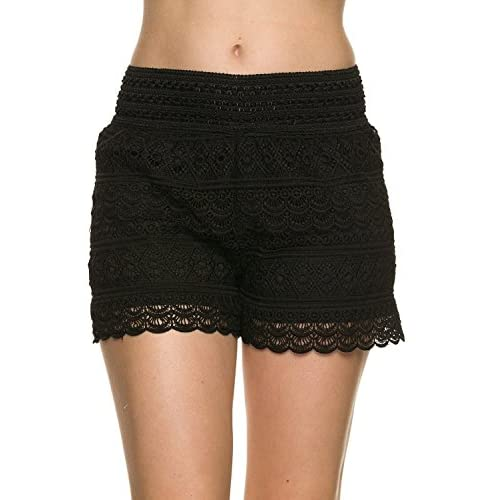 Cheap ARMSTCE Juniors Crochet Shorts With Scallop Edge and Inner Lining hot sale